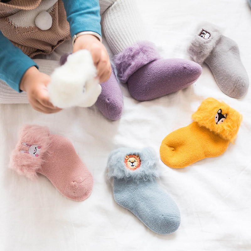 1 Paar Neugeborenen Cartoon Baby Socken Baumwolle Winter Herbst Kinder Mädchen Jungen Kinder Socken Infant Terry Warme Socken Marke Neue