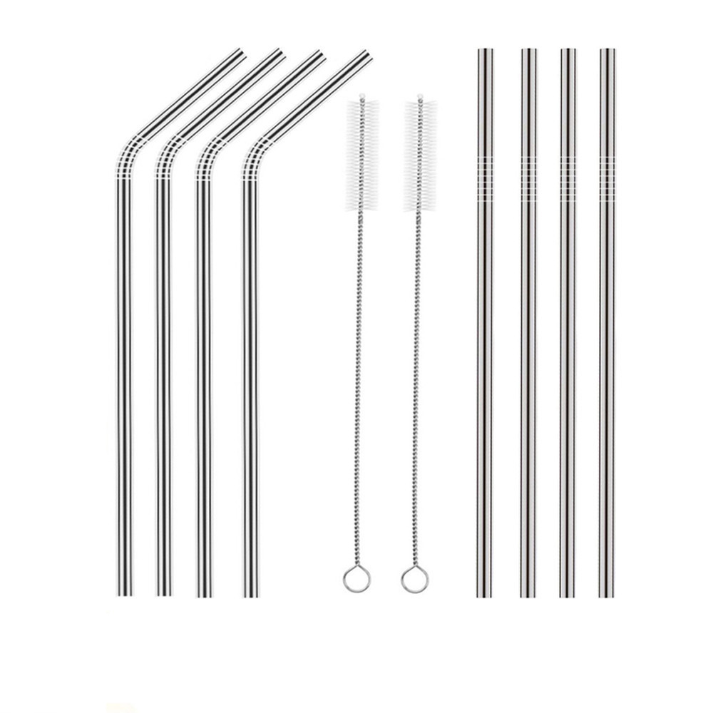 geekoplanet.com - 8PCS Colorful Stainless Steel Drinking Straws + 2PCS Cleaning Brush