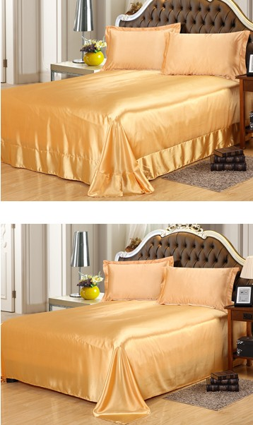 Gold Silk Bedding Satin Flat Fitted Bed Sheets 4PCS Sheet Set Super King Queen  Size Full