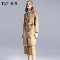 High End 2017 New Winter Women's Wool Coat Outerwear + Wide calf length Pants Suits Twinsets Luxury Brand Ladies Two Piece Sets
