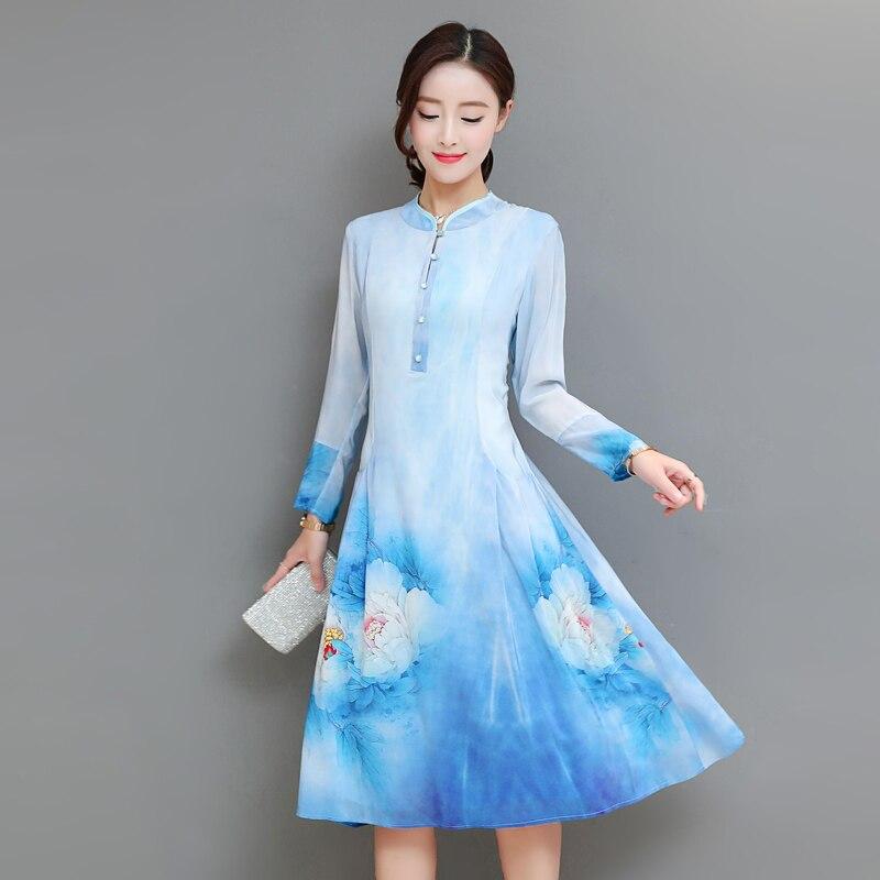 Elegant Blue A-line Dess Long Sleeve Knee Length Dress Plus Size M-3XL Vintage Gown Hot Sale Autumn Robes New Fashion Vestido
