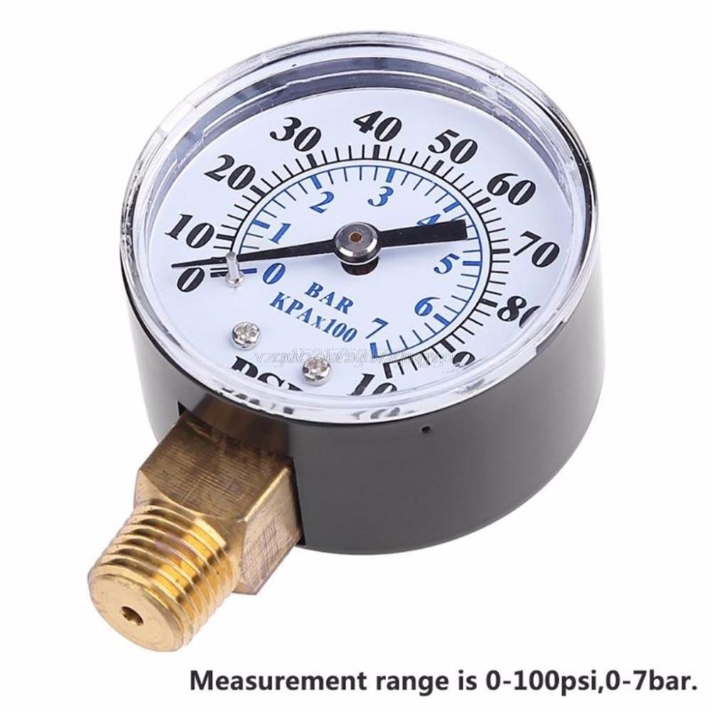"""Air Oil Gas Water Pressure Test Gauge Male Thread 1//4/""""BSPT 0-100psi 0-7bar"""