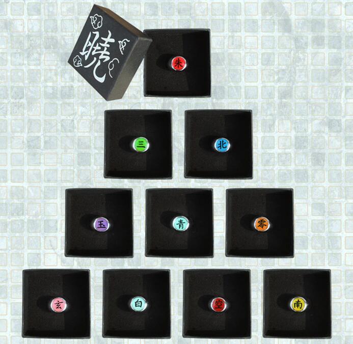 10Styles Anime Cartoon Naruto AkatsukI Memeber's Badge Cosplay Rings Uchiha Itachi Ring