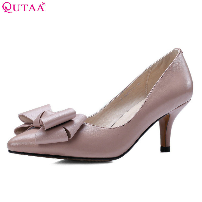 QUTAA 2018 Women Pumps Fashion Women Shoes Bow Tie Spring/ Antumn Platform Cow Leather+ Pu Thin Heel Ladies Pumps Szie 34-39