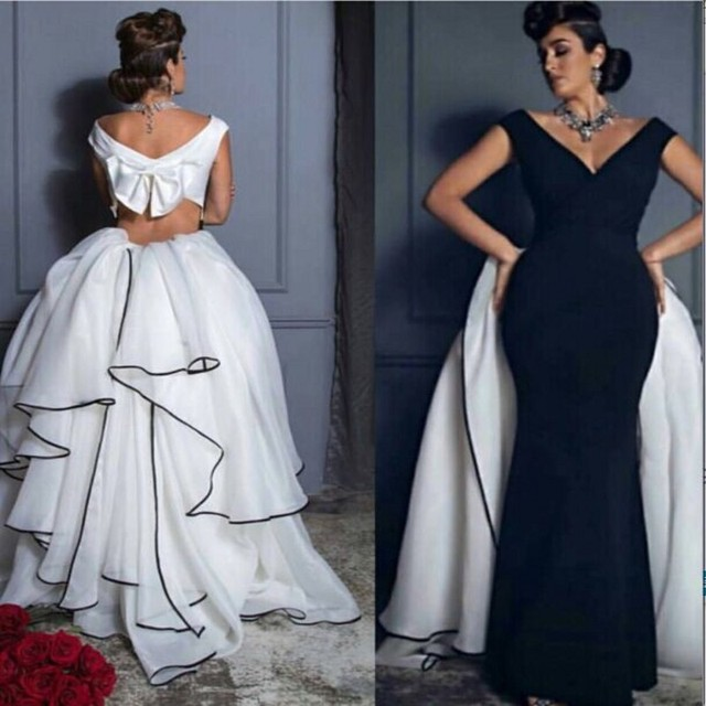 436d2816ca67ac New Designer V Neck Mermaid Black and White Evening Dress Open Back Ruffle  Skirt Saudi Arabic Prom Dress 2017 Formal Party Gowns