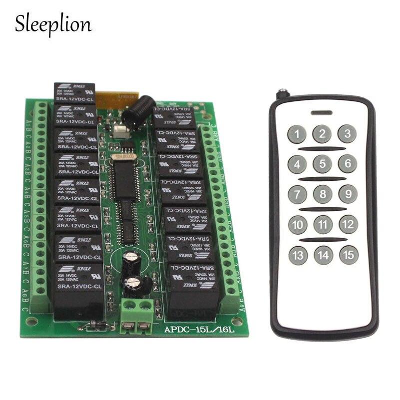 Sleeplion DC 12V 15 CH 15CH RF Wireless Remote Control Switch System 315 433 92 MHZ