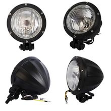 купить Motorcycle Universal Headlight Light HeadLamp Bullet  For Harley Bobber Cafe racer Chopper Cruiser Black/Chrome дешево