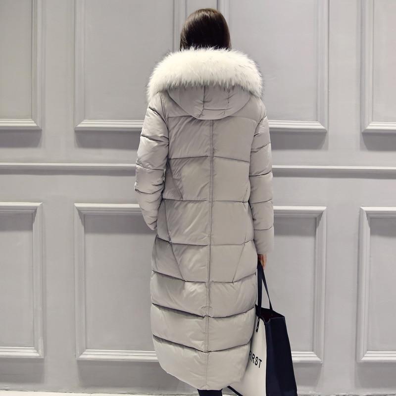 Manteaux Fourrure Femmes D'hiver À gray Capuche Long 2018 Col De Black Parka Mode D206 Mujer Chaud Survêtement En Veste Dames Manteau Coton Rembourré rCdthQs