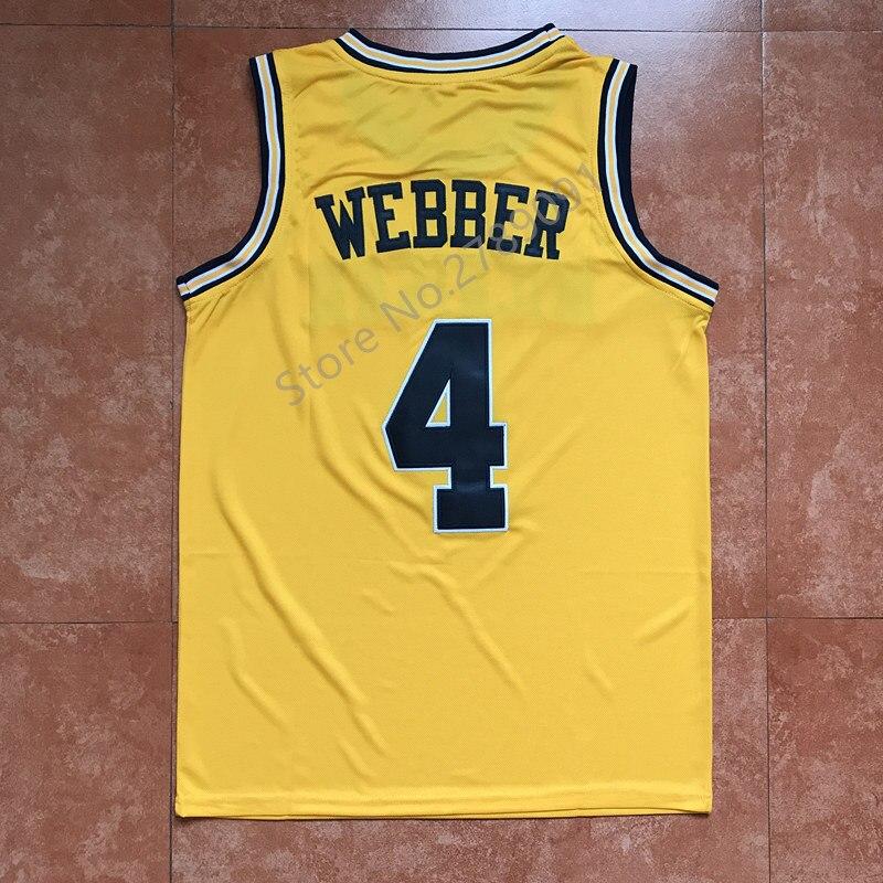 new style dff1c fe670 wholesale wolverines 4 chris webber white basketball ...