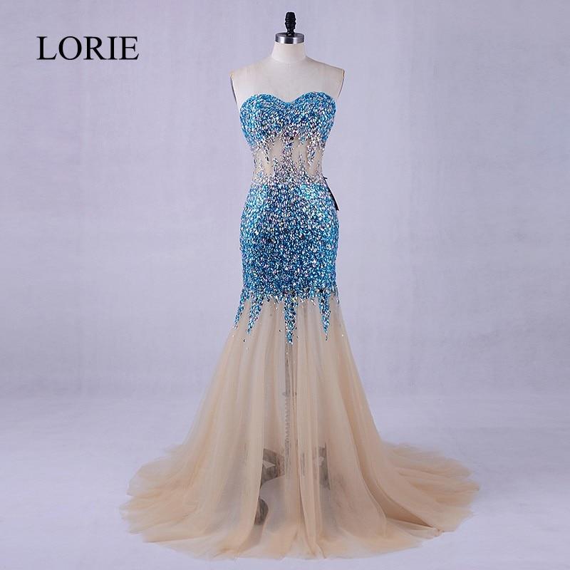 Luxury Evening Dress 2018 Crystals Long Formal Champagne Women Mermaid Long Prom Dresses Vestidos De Graduacion Party Dresses