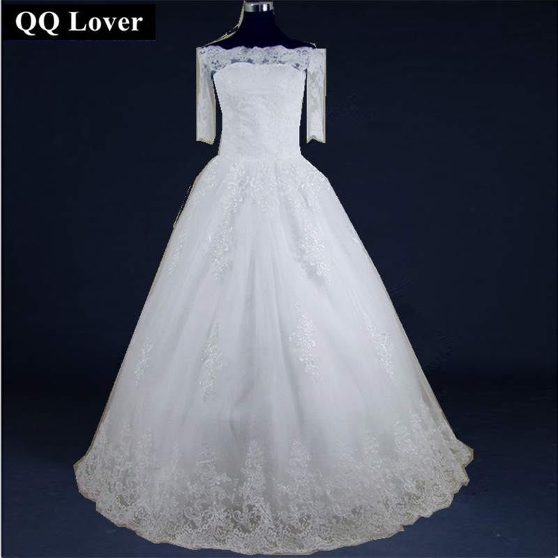 QQ Lover Ball Gown Short Sleeve Lace Vintage Wedding