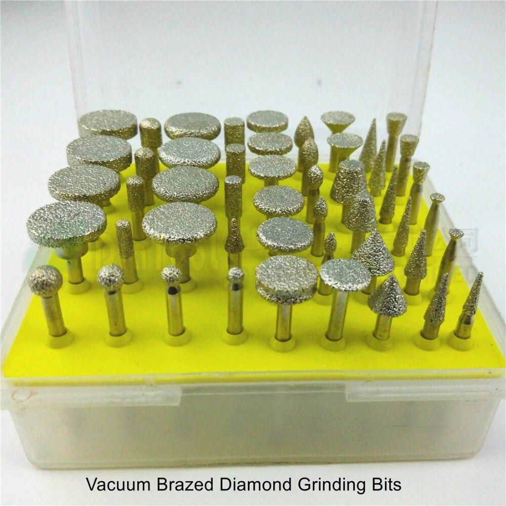 DIATOOL 50pcs set Mini Brazed Diamond Burrs For Stone Diamond Grinding Head Engraving Bits Single Blister