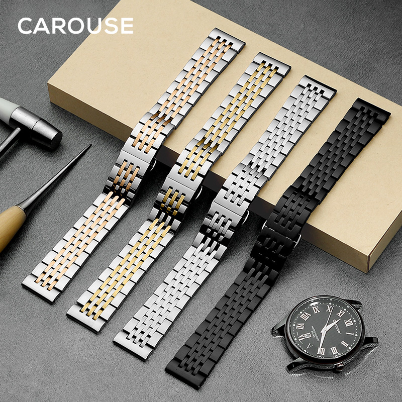 Carouse Stainless Steel Metal Watchband Bracelet 12mm 14mm 16mm 18mm 20mm 22mm Watch Band Wrist Strap Black Silver Rose Gold watch bands 22mm silver with rose gold solid stainless steel mens metal watch band bracelet strap for ar1648 ar1677 ar0389