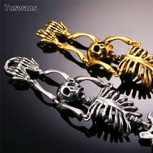 Czaszka bransoletka duże kości szkieletu oświadczenie biżuteria punkowa złoty kolor stal nierdzewna prezent na boże narodzenie gotyckie bransoletki mężczyzn tanie tanio Moda Mężczyźni Metal Ukryte-zapięcie z bezpieczeństwem TSYLB008 Brak Wszystko kompatybilny Link łańcucha Charm bransoletki