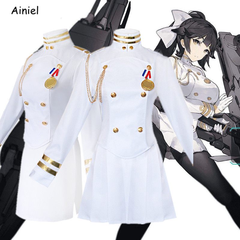 Game Azur Lane White Ship Uniform Cosplay Costume Dress Atago Takao Coat Skirt Gloves Socks Headgear Costumes for Girls Women