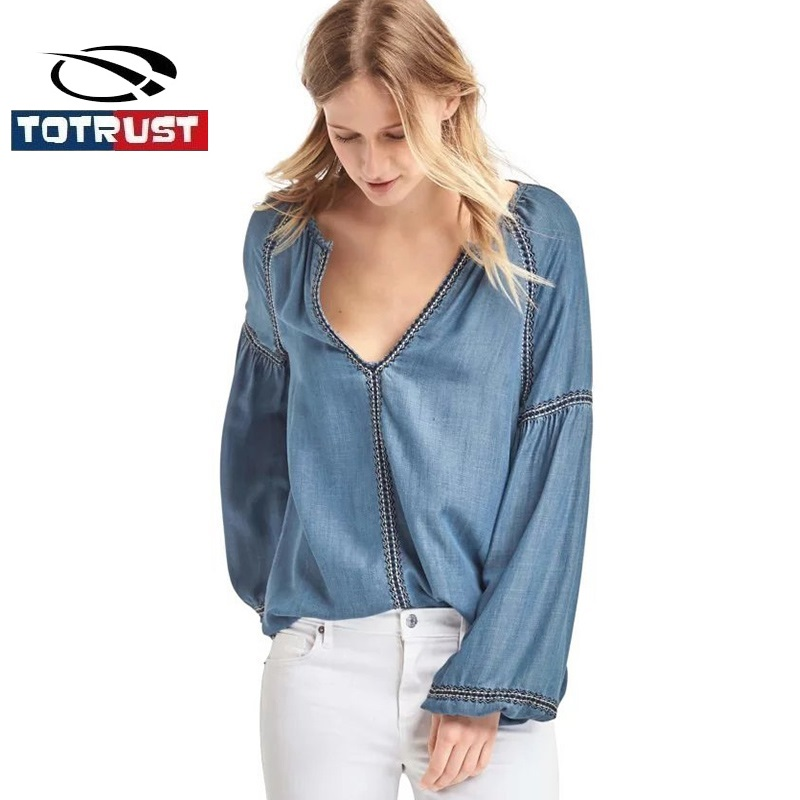 c320885eec1111 Vintage Jean Blouse Denim Shirt 2019 Long Sleeve Blue Jeans Shirt Ladies  Casual Deep V Neck Blouses For Women Camisa Femininas