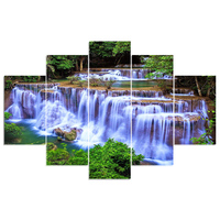 5 Pcs Set New 3D Diy Diamond Painting Forest Waterfall Mosaic Embroidery Canvas Wall Sticker Handcraft
