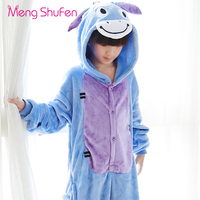 Mengshufen Pajamas Set Kids Donkey Sleepwear Set Flannel Animal Winter Children Girls Boys Unsiex Pyjamas Cartoon