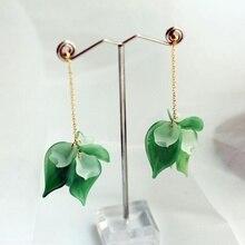 Ruifan Korean Leaves/Leaf Shape 925 Sterling Silver Earrings for Women Girls Long Drop Chain Earring Fashion Jewelry YEA380