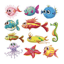 marine alimal iron on transfer for clothing fish stickers clothes diy badges girl baby pathes t-shirts appliques wholesale