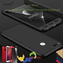 ФОТО for xiaomi mi a1 case 360 protection hard hybrid pc cover bag phone accessories parts sleeve with tempered glass klaido