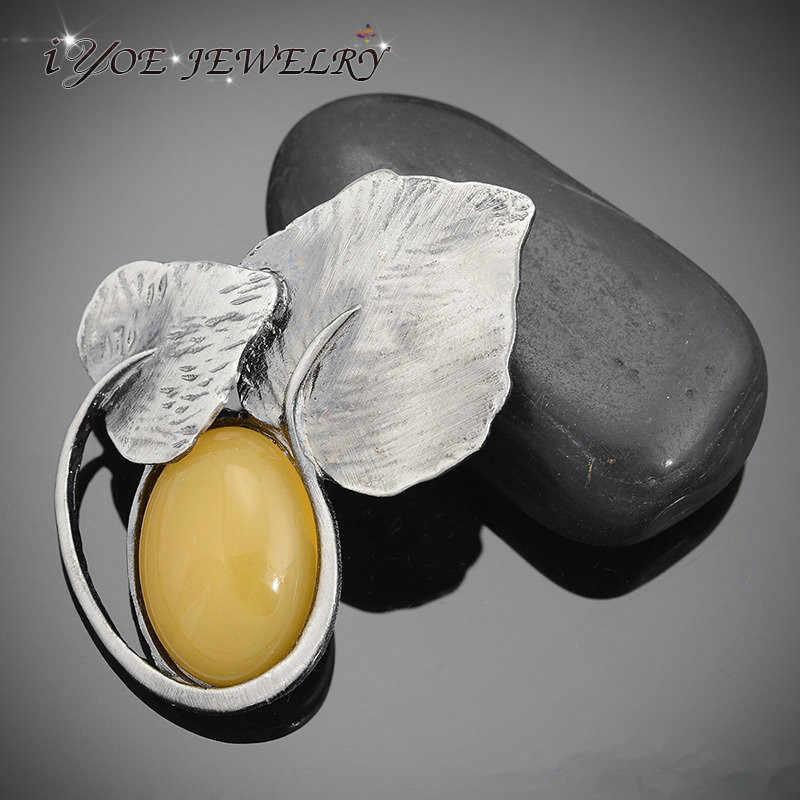 Iyoe Gaya Retro Kuning Natral Batu Bros Liontin Perhiasan Vintage Daun Bros & Pin Wanita Gaun Aksesoris