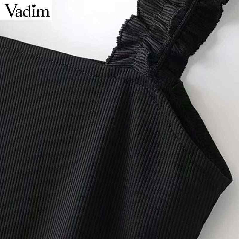 Vadim женские трикотажные чарующие Боди без рукавов с открытой спиной эластичный костюм на лямках женский белый черный тонкий базовый шик Топы KA679