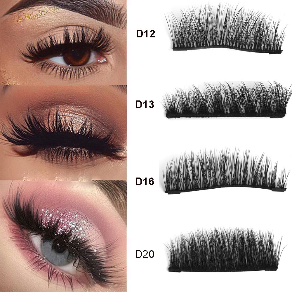 1 Set 100 Mink Hair 3D Dual Magnetic Luxury False Eyelashes Thick Long Natural Magnet Eye
