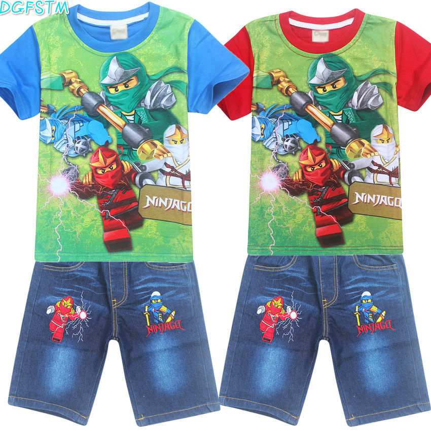 New 2017 Retail POLI ROBOCAR Children Set Cartoon DUSTY PLANE fashion suit boys Moana jeans sets t-shirt+pant 2pcs Kids Clothing