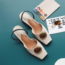Women sandals shoes genuine leather thick heels summer sandals woman saquare toe beige sandals for women slippers 2019 shoes summer shoes women sandals genuine leather sandals fashion thick high heels peep toe shoes woman office lady dress casual shoes