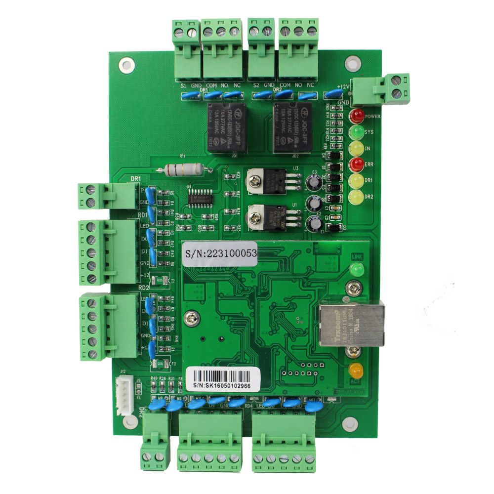 TIVDIO Hot Generic Wiegand TCP/IP Network Entry Access Control Board Panel Controller For 2 Door 4 Reader F1647G  four door network access control panel board with software communication protocol tcp ip board wiegand reader for 4 door use