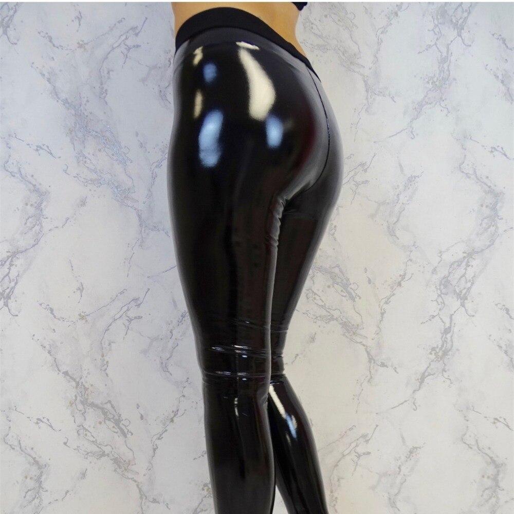 EOEODOIT Women Classic Leggings Wet Look PU Leather Black Slim Long Pants Women Sexy Skinny Hip Push Up Leggings Trousers leggings