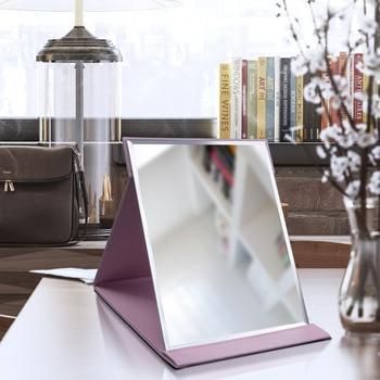 Pink Black Travel Mirror Foldable Pocket Portable Stainless Steel Rectangular Mirror Makeup Folding Compact Desktop Table Mirror 2