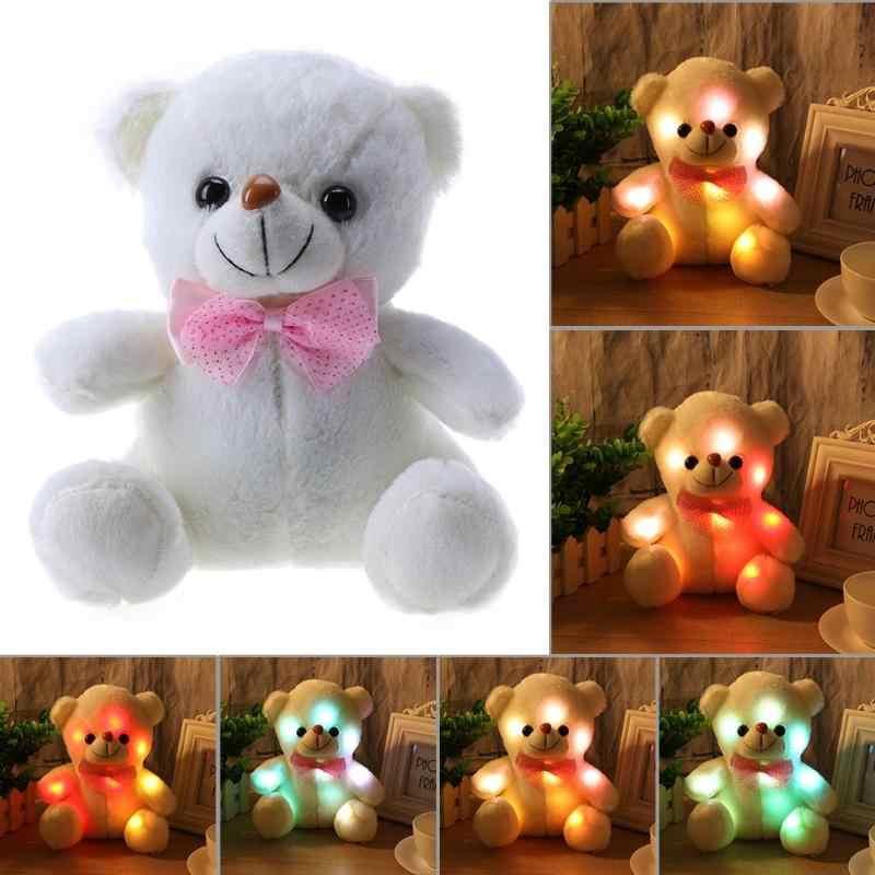 ของเล่นเด็กน่ารักบันทึกเสียงเรืองแสงหมีที่มีสีสันส่องสว่างตุ๊กตาตุ๊กตาของขวัญเด็กนอนตุ๊กตาเรืองแสงใน Dark Plush หมี