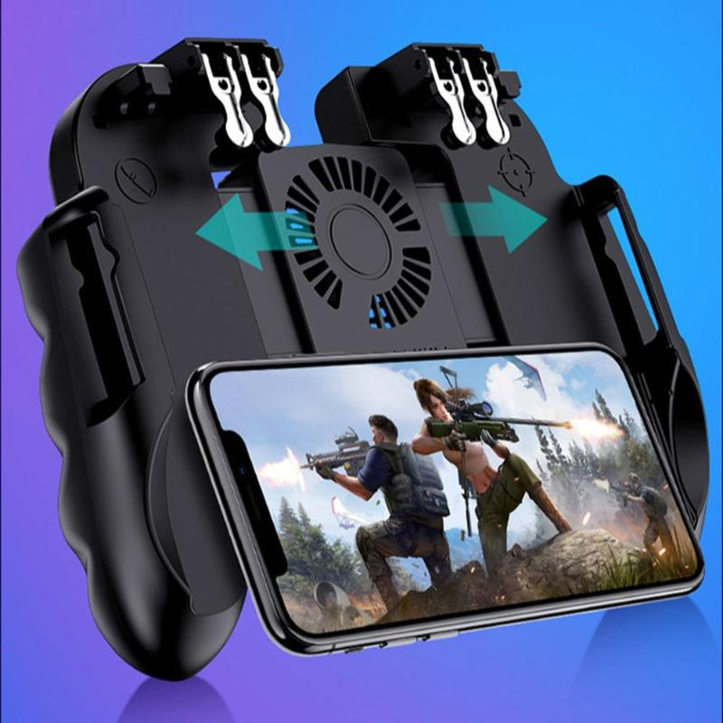 H9 Game Controller With Fan Six Finger Joystick GamePad With Cooler Fire Button Mobile Phone Game HandleTrigger For PUBG