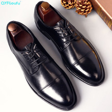 Genuine Cow Leather Men Dress Shoes Wedding High Quality Classic Elegant Luxury Designer Male Formal Shoes Lace-up