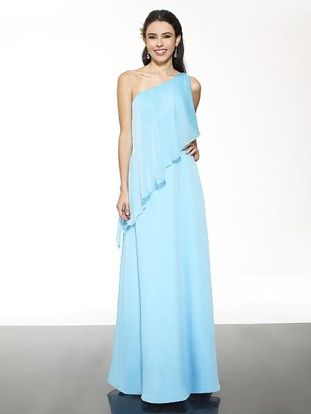 2015 New Sky Blue Bridesmaid Dresses Under $100 One Shoulder Chiffon Simple Party Prom Dress Custom Made Wedding Guest Gowns