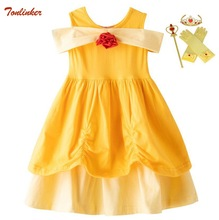 Cosplay Belle Princess Dresses For Girls Halloween Costume Kids Birthday Dress Children Floral Ball Gown Fancy Party 2-7Yr