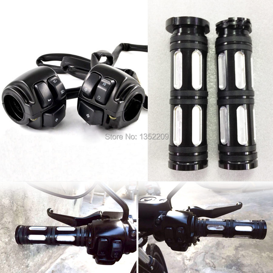 Black Aluminum 1 Handlebar Control Switches Wiring Harness Edge Cut Hand Grips For Harley Softail Dyna black aluminum 1\
