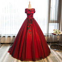 Dark Red Prom Dresses 2019 Flowers Applique Puffy Long Prom Dress Ball Gowns Evening Party Gowns Costume Formal Debutante Gown
