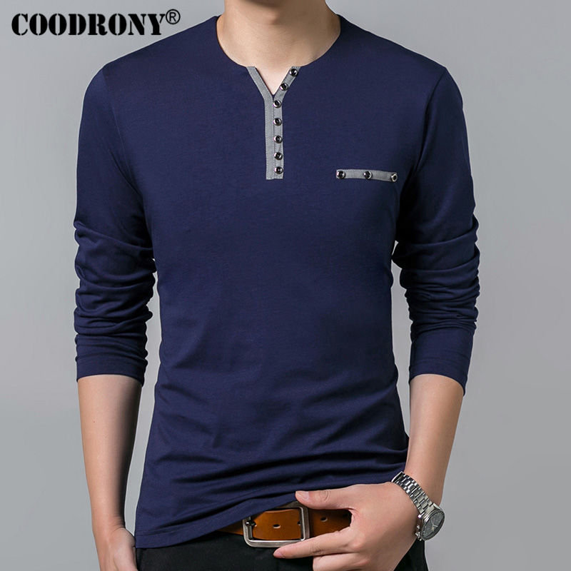 COODRONY Cotton Henry Collar Polo T Shirts For Men