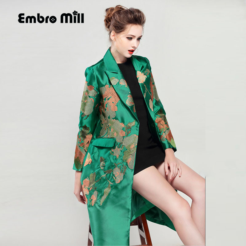 Trench-Coat Runway Embroidery Long-Sleeve Vintage Autumn Winter Women Floral Turn-Down-Collar