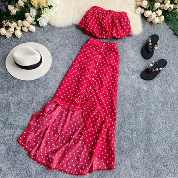 MUMUZI Holiday outfit ruffled polka dot print short tops single-breasted irregular trumpet skirt two-piece set for women polka dot ruffled longline t shirt