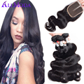 Peruvian Virgin Hair With Closure Body Wave Hair Weave With Closure Peruvian Body Wave With Closure Ali Moda Hair With Closure