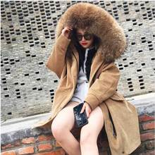 American 2017 Winter Women's Parkas Real Lamb Detachable Liner Big Real Raccoon Fur Hooded Jacket Corduroy Coat Loose Clothing