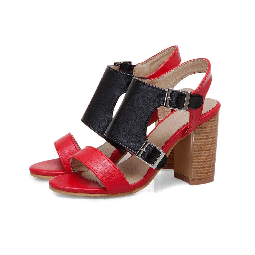 6139ed88e86dee Taille Talon Cuir Hauts Sandales Talons Pompes Chaussures Ouvert Red Femmes  2019 white La Mode Plus ...