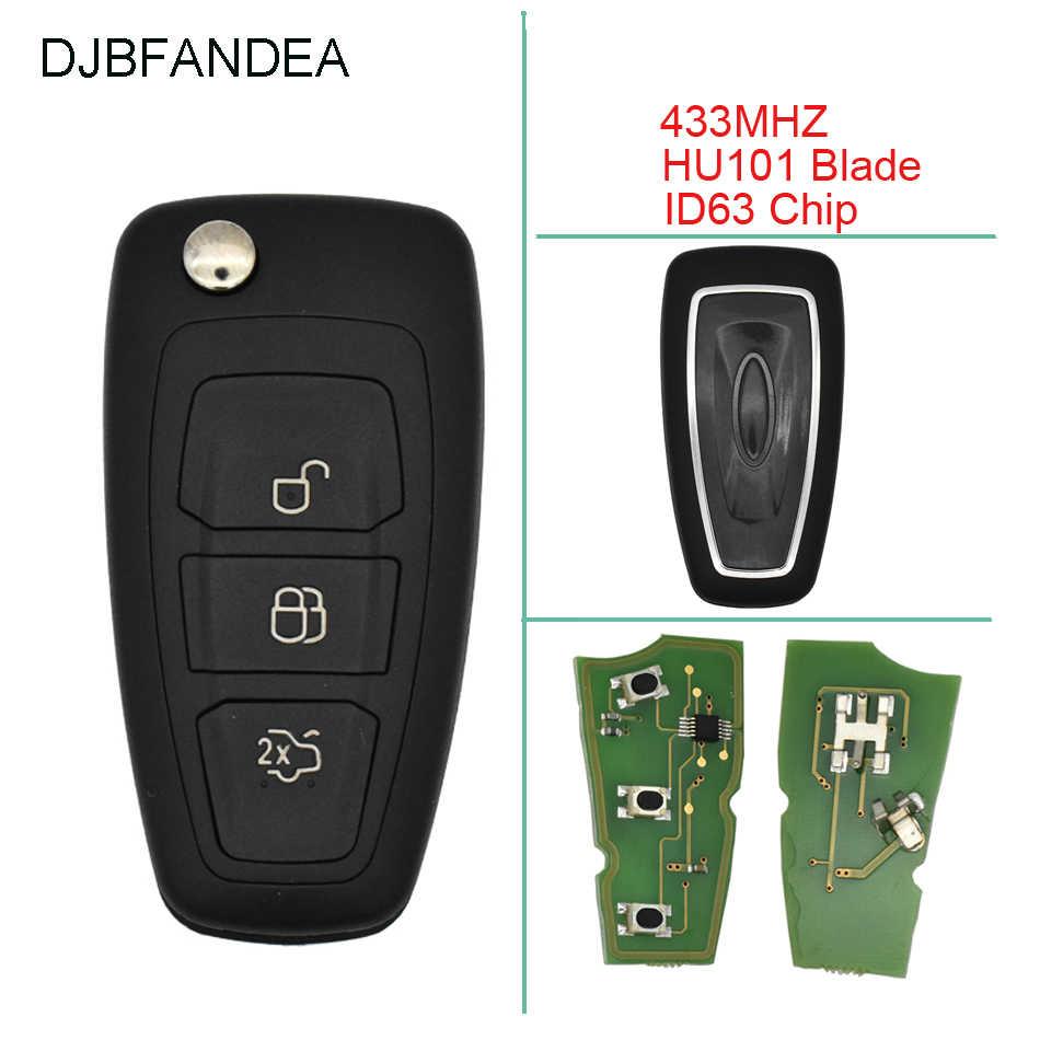 DJBFANDEA 433 mhz Vouwen Compleet Afstandsbediening Sleutelhanger Voor Ford Focus Fiesta VRAGEN Signaal autosleutel + ID63 chip