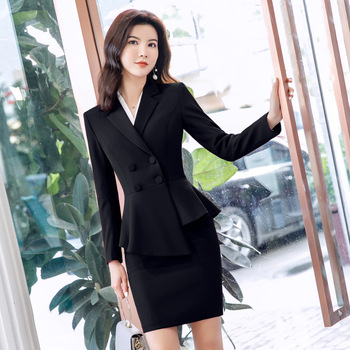 Spring Professional Skirt Long-sleeved Suit Big Red White Collar Business Small West Decoration Female Wear