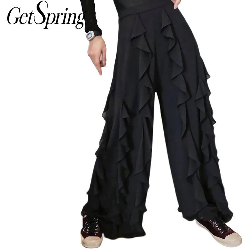 GETSRING   Pant   Ruffle Stitching High Waist Chiffon   Wide     Leg     Pants   Black Wild Chiffon Casual Women   Pants   2019 New Fashion Vintage