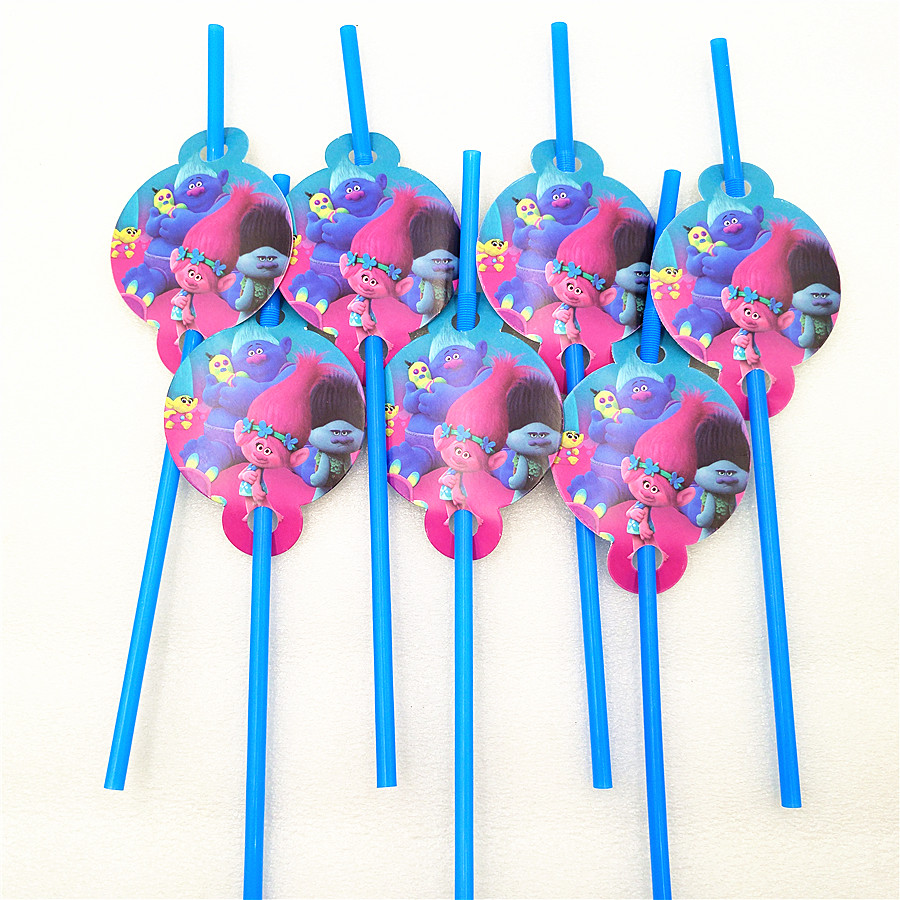 10pcs/bag Trolls Party Supplies Drinking Straws Cartoon Birthday Party Decoration Baby Shower Theme Festival For Kids Girls Boys